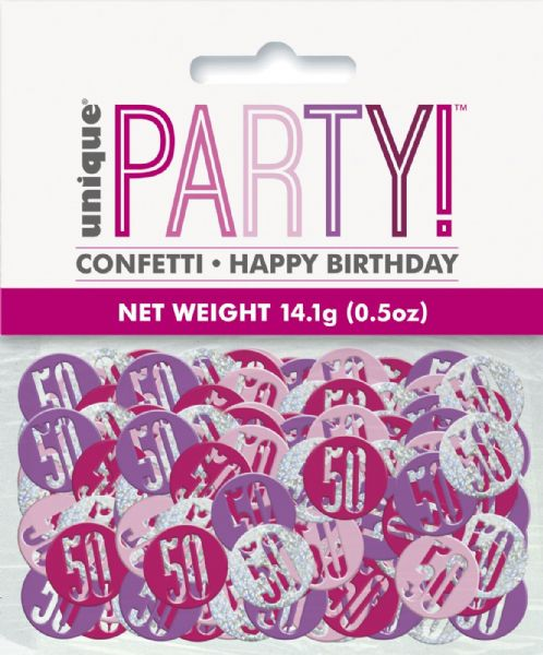 Glitz Pink Age 50 Table Confetti